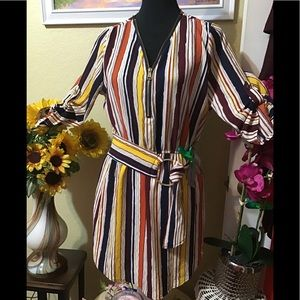 NWT Multicolor Stripe Belted Shirtdress Jrs Med